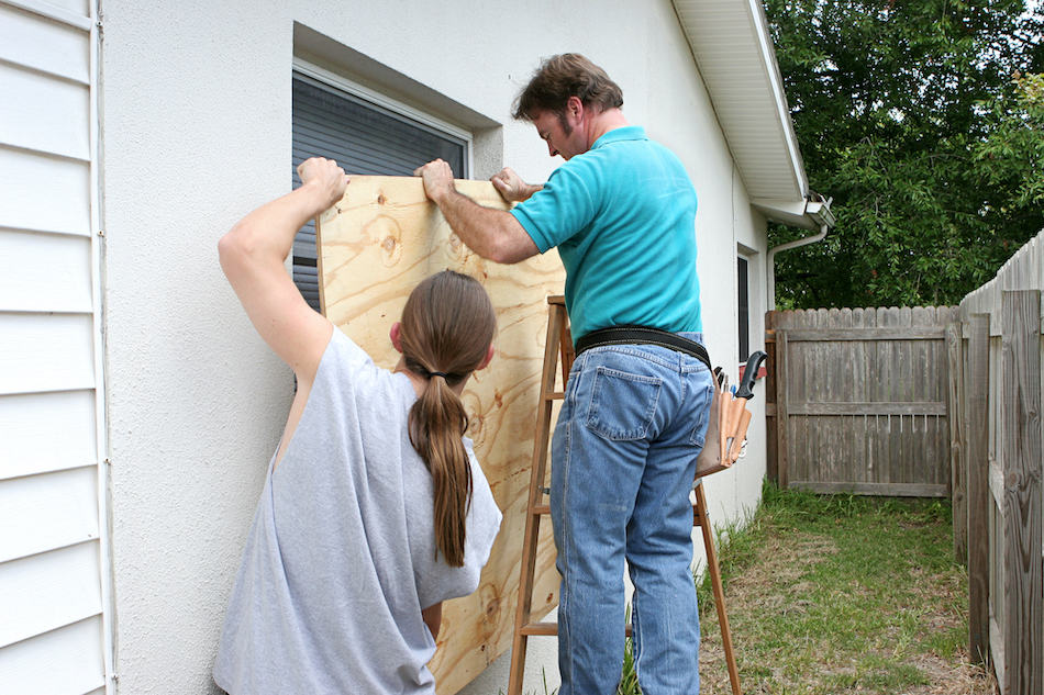 picture of A father and son working together to install plywood over windows in preparation for a hurricane.