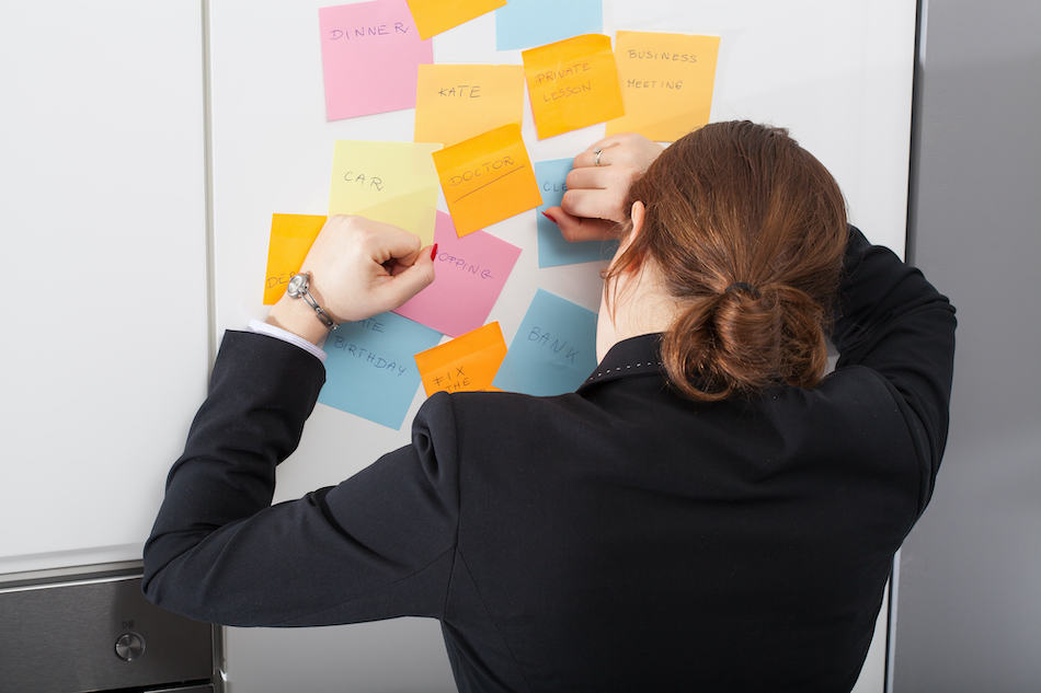 picture of Woman is exhausted of morning list of daily home buying tasks