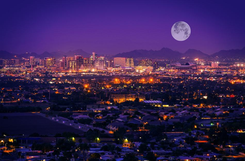 picture of Phoenix Arizona Skyline at Night. Full Moon Over Phoenix, Arizona, United States.