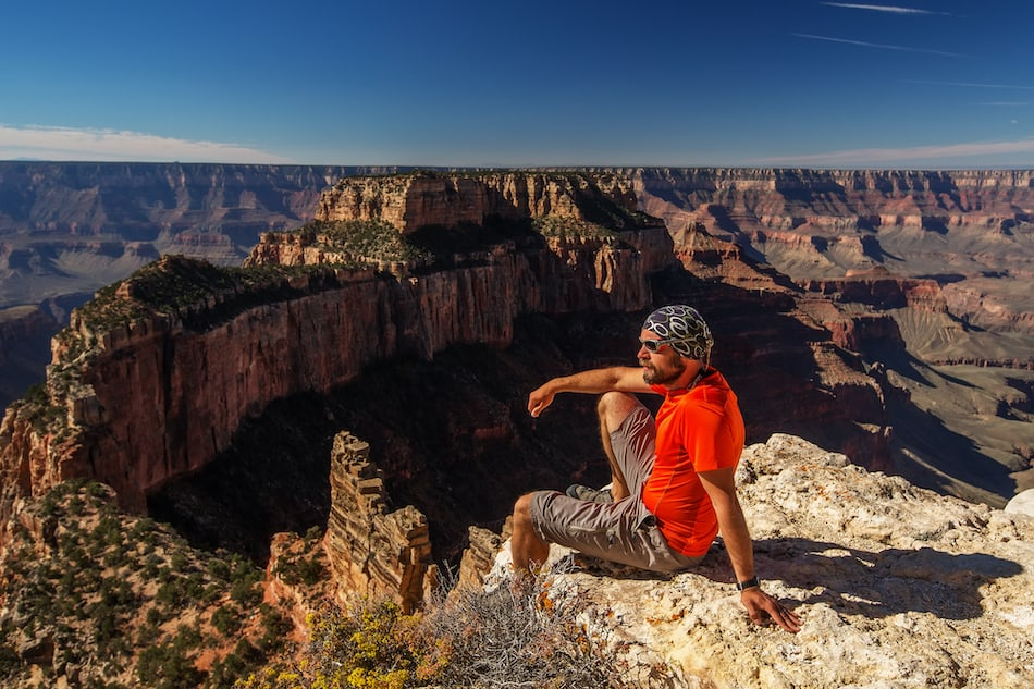 picture of A hiker in the Grand Canyon National Park, North Rim, Arizona, USA