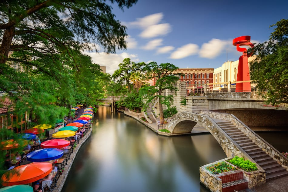 picture of San Antonio, Texas, USA cityscape at the Riverwalk.