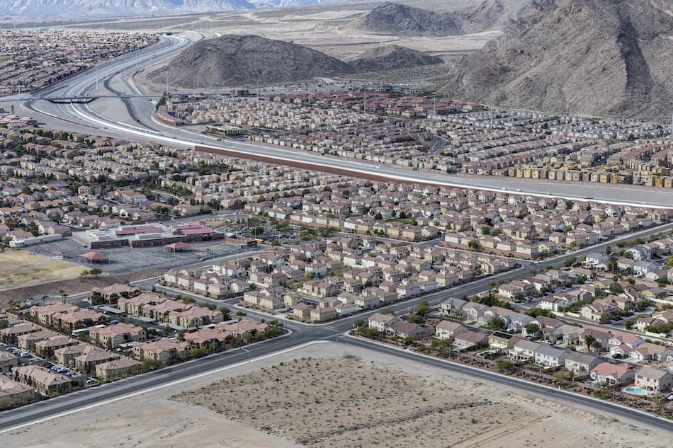 picture of Las Vegas suburban housing sprawl ajoining the Spring Mountains in Southern Nevada.  Las Vegas suburban housing sprawl adjoining the Spring Mountains in Southern Nevada.