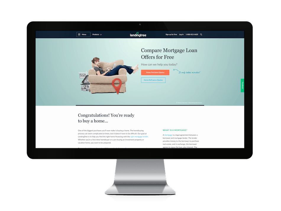 picture of lending tree mortgages website