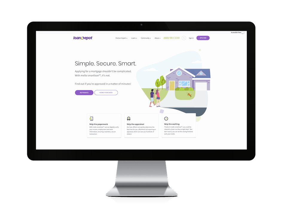 picture of loan depot mortgage website