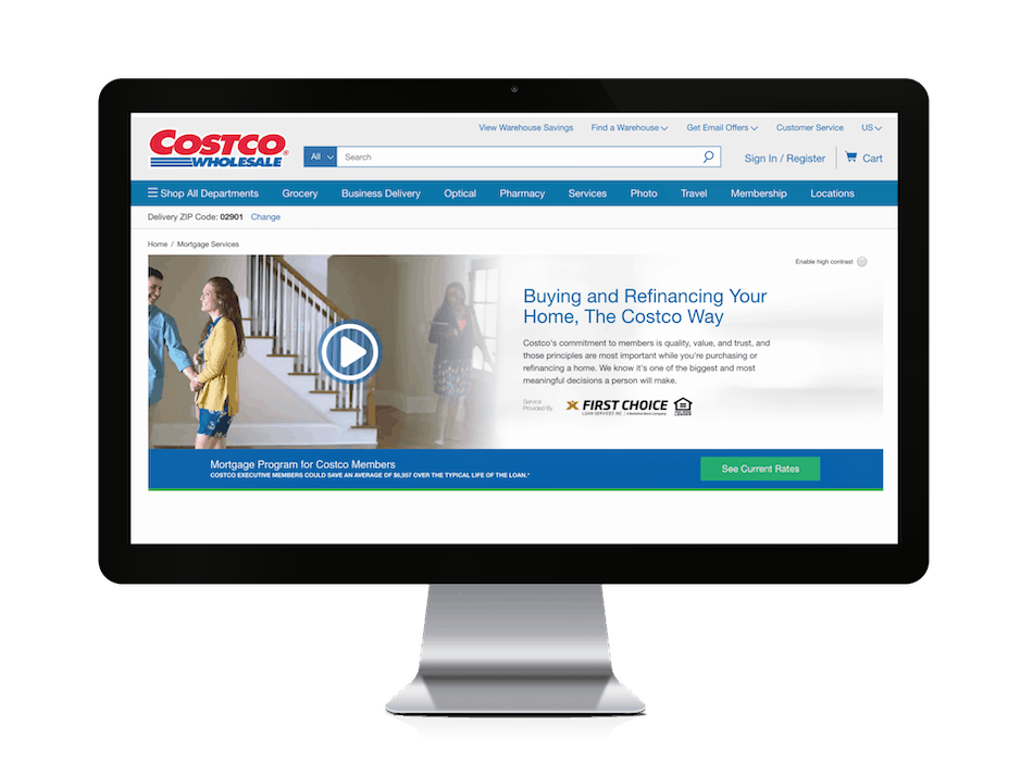 picture of costco mortgages website