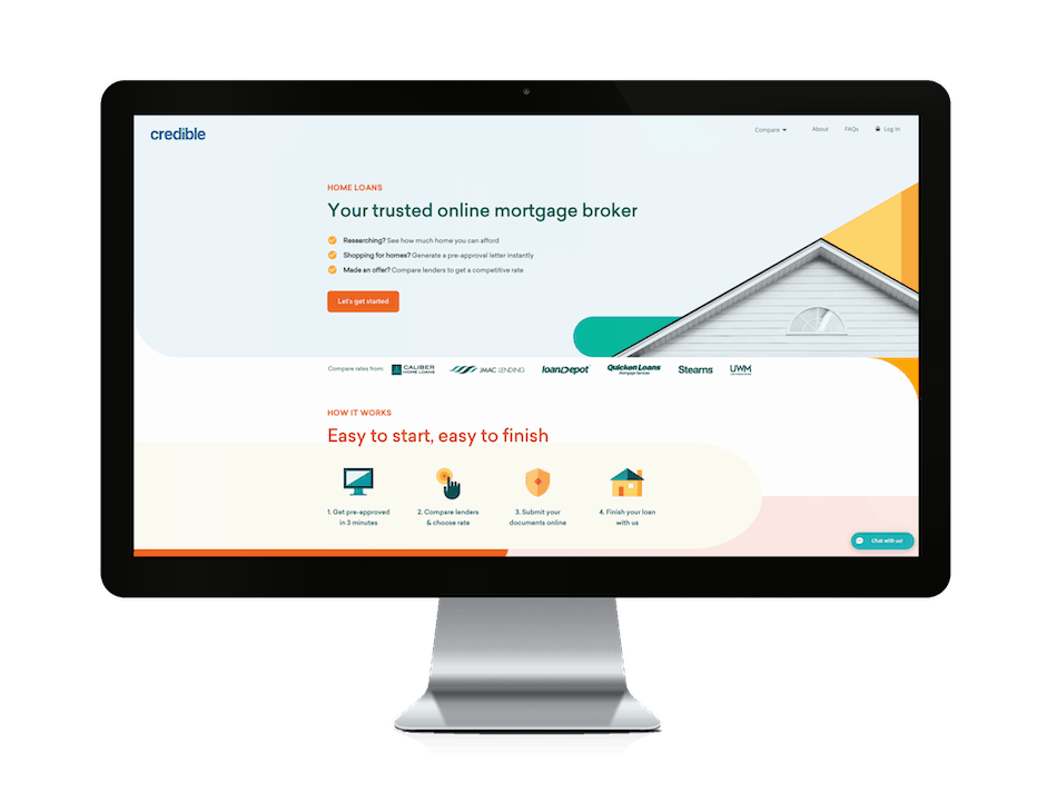 picture of credible.com mortgage website