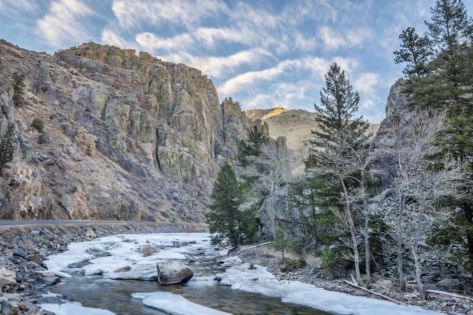 picture of Cache la Poudre River at Little Narrows west of Fort Collins, Colorado - winter scenery