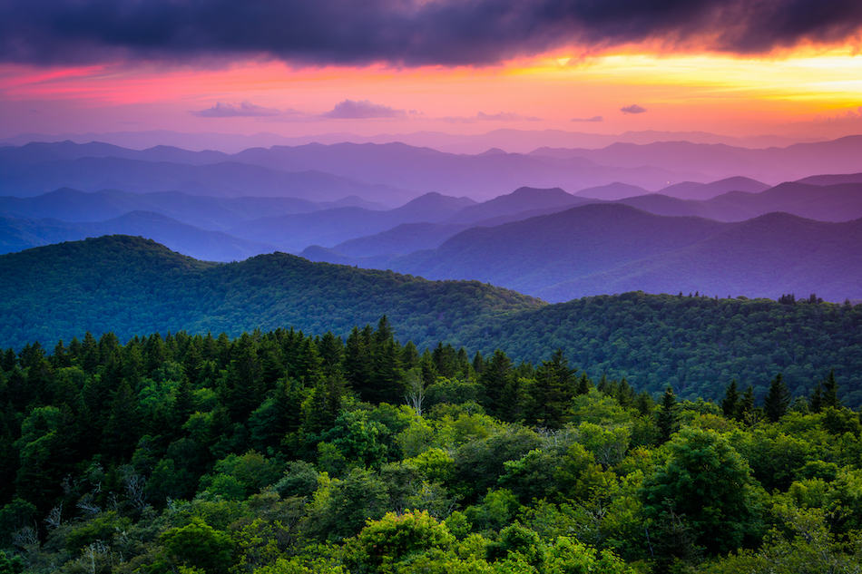 picture of Sunset from Cowee Mountains Overlook, on the Blue Ridge Parkway in North Carolina.