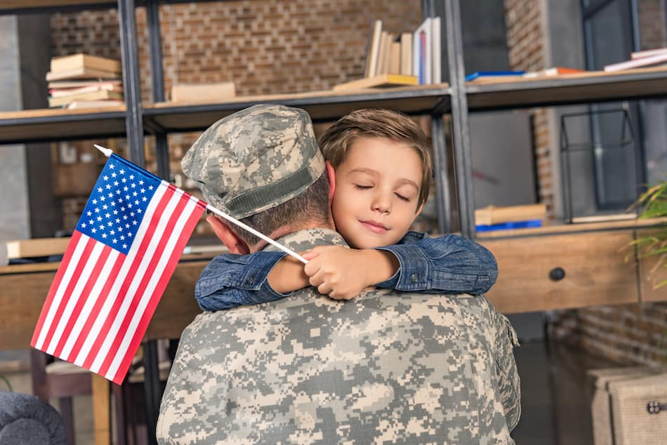 picture of a military soldier and son at fort bragg nc