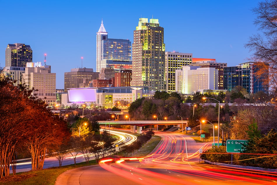 picture of Raleigh, North Carolina, USA downtown city skyline.