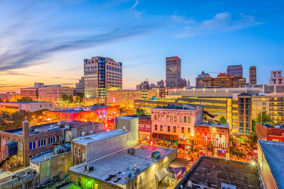 picture of Memphis, Tennesse, USA downtown cityscape at dusk over Beale Street.