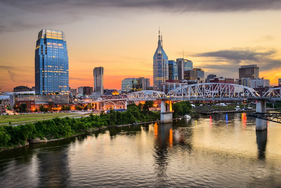 picture of Nashville, Tennessee downtown skyline at Shelby Street Bridge.