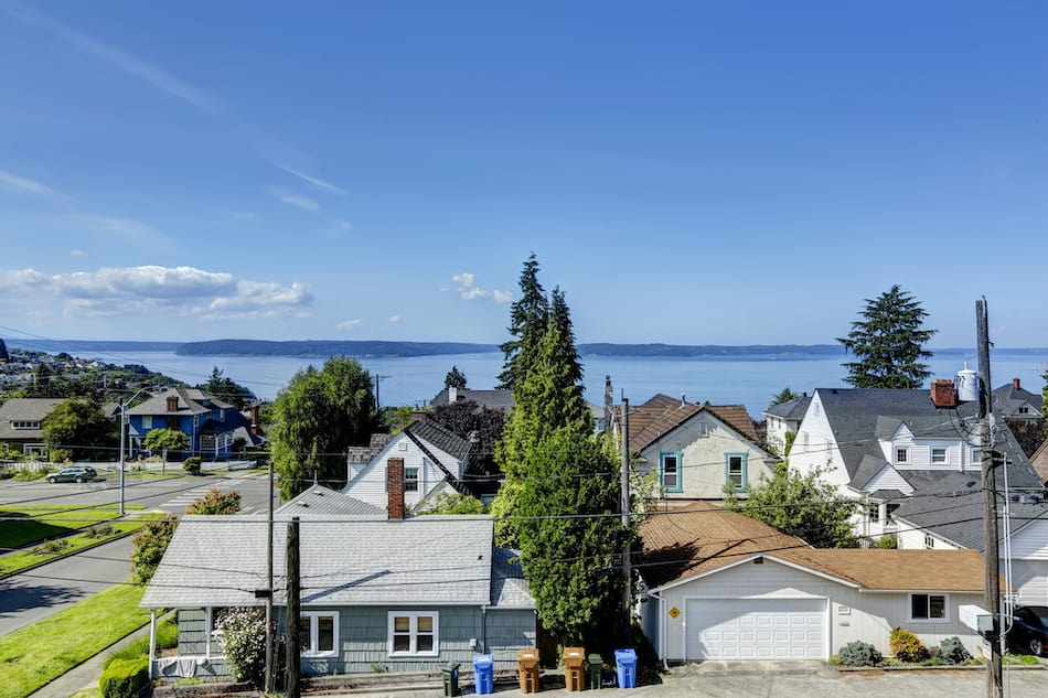 picture of Scenic bay view in Tacoma. Panoramic photo is taken from the house walkout deck