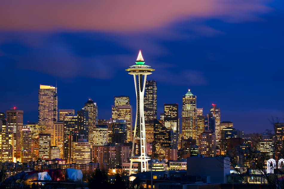 picture of Seattle skyline with Space Needle Tower at dusk