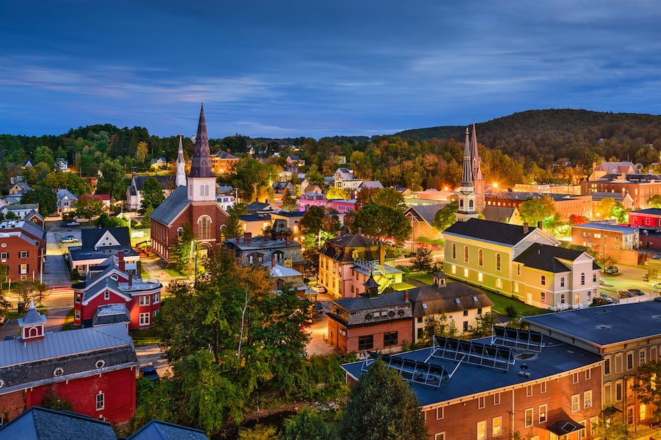 picture of Montpelier, Vermont, USA town skyline at twilight.