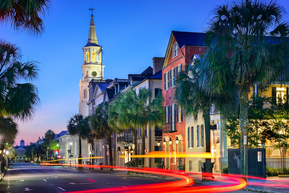 picture of Charleston, South Carolina, USA cityscape at  St. Michael's Episcopal Church.