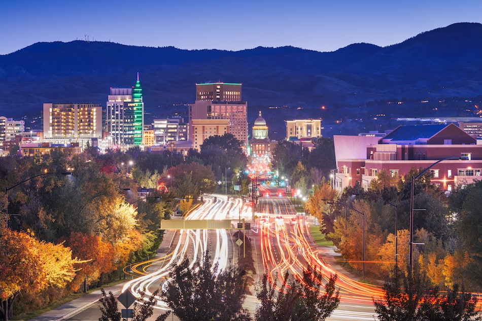 picture of Boise, Idaho, USA downtown cityscape at twilight.
