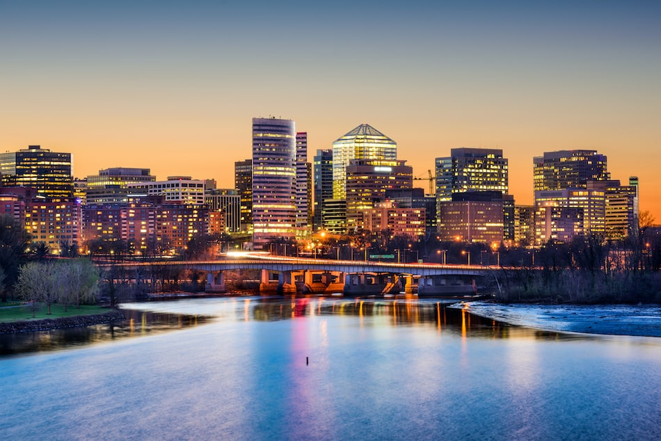 picture of Rosslyn, Arlington, Virginia, USA skyline on the Potomac River.