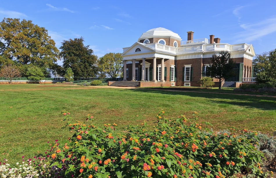 picture of Thomas Jefferson's home in Charlottesville Virginia
