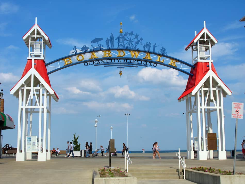 picture of The famous public BOARDWALK sign located at the main entrance of the boardwalk in Ocean City, Maryland.