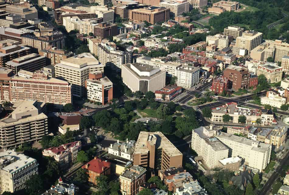 Aerial view of buildings in Dupont Circle Washington DC