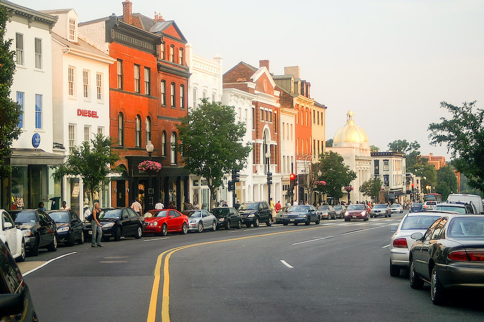 Washingto, DC - June 17: Street scene at the intersection of Wisconsin Avenue and M Street in Georgetown in Washington, DC on a late summer afternoon on June 17, 2006..