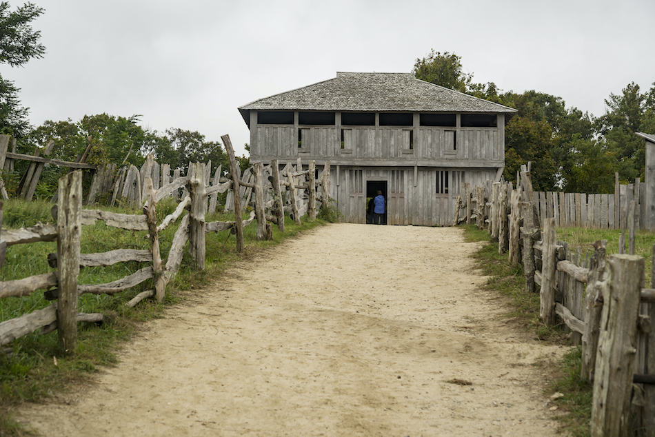 Old buildings in Plymouth plantation at Plymouth, MA. It was the first Pilgrims settlement in north America.