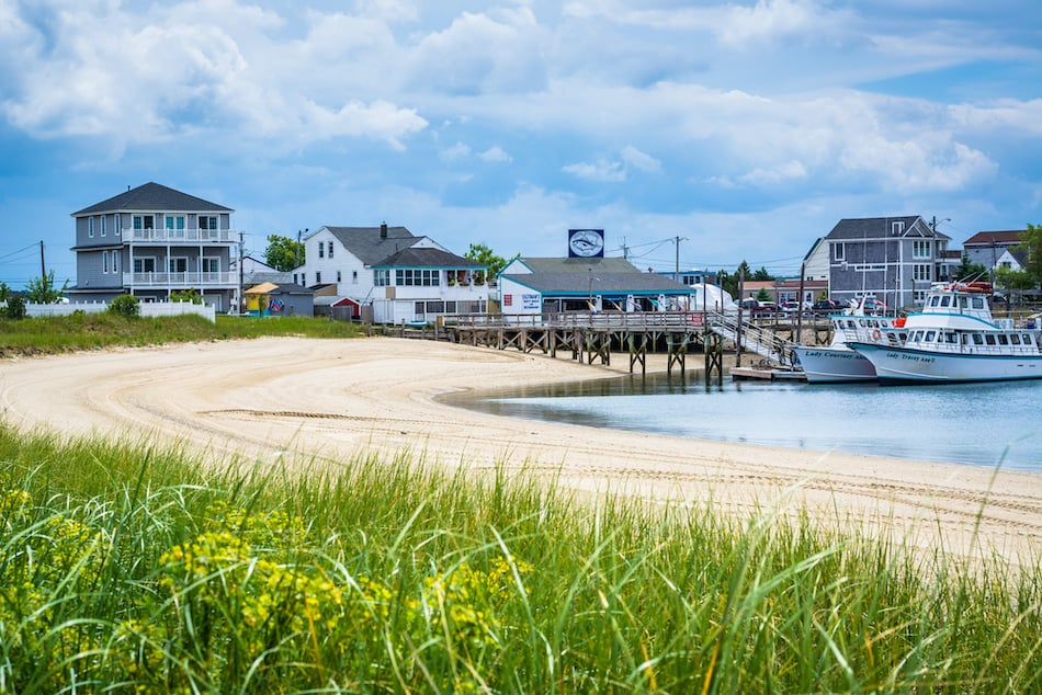 Houses and boats along Hampton Harbor, in Hampton Beach, New Hampshire.