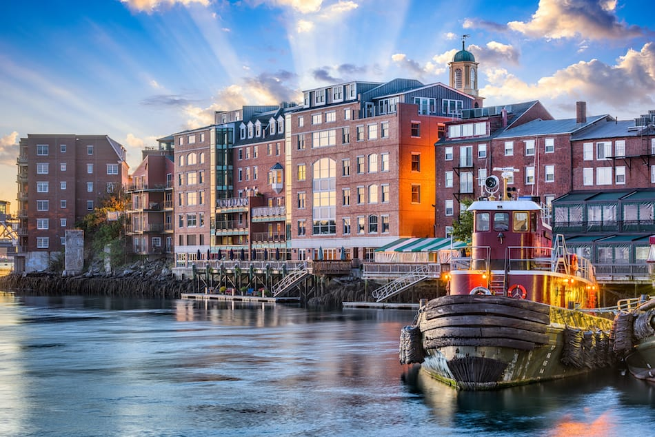 Portsmouth, New Hampshire town cityscape.