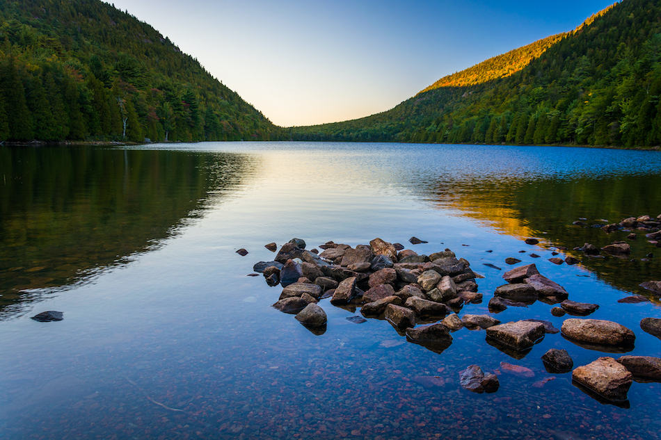 Morning reflections at Bubble Pond, in Acadia National Park, Maine.