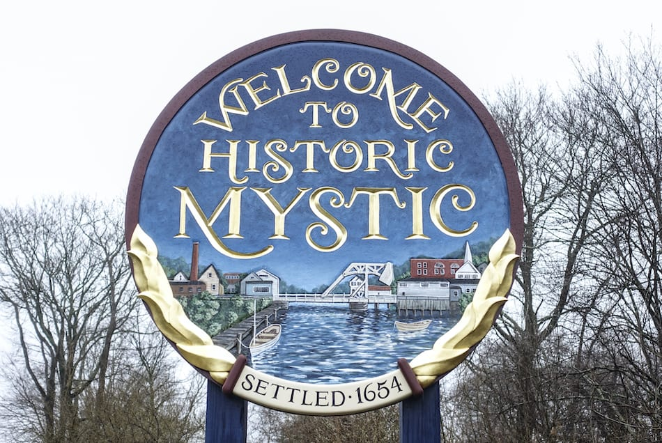 Welcome To Historic Mystic Sign in Connecticut