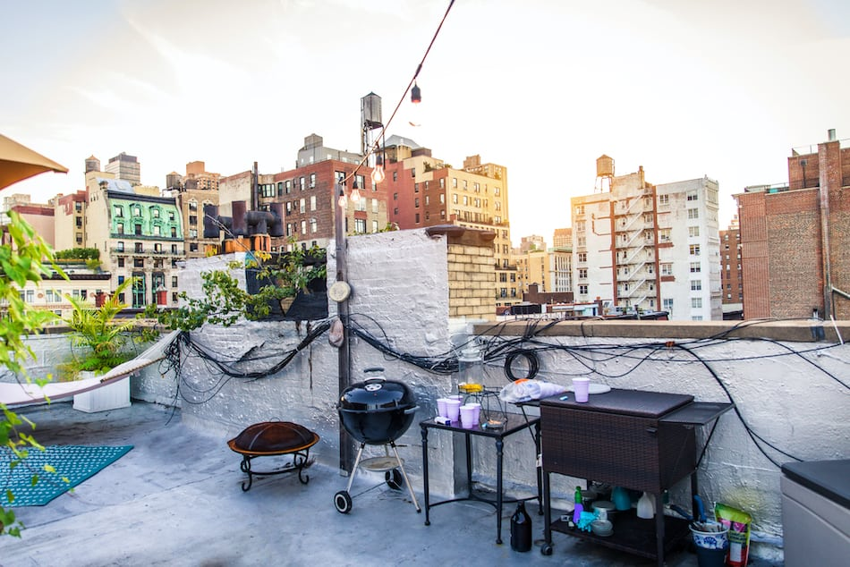 Rooftop terrace in Brooklyn, no people