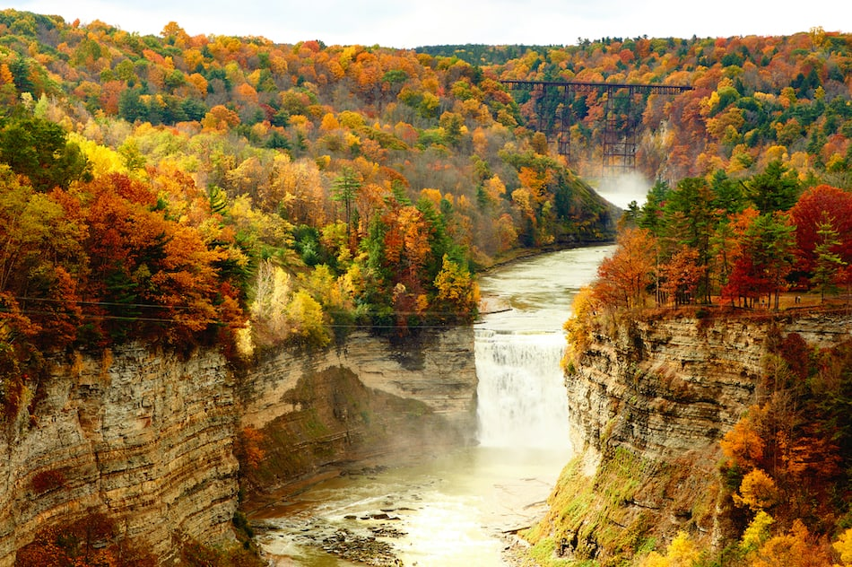 Autumn scene of waterfalls and gorge at Letchworth State Park