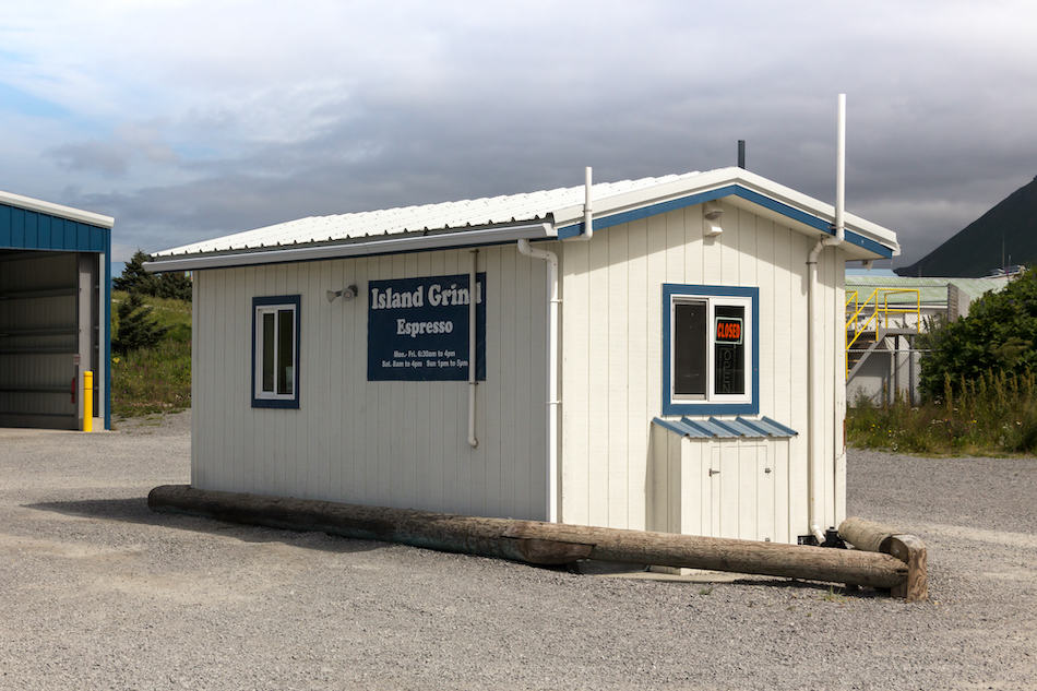 Dutch Harbor, Unalaska, Alaska, The Island Grind Espresso coffee shop at Airport Beach road, Unalaska, Alaska.