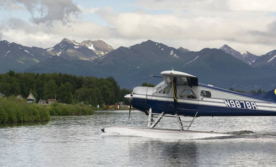Floatplane comes in for a landing in Anchorage Alaska