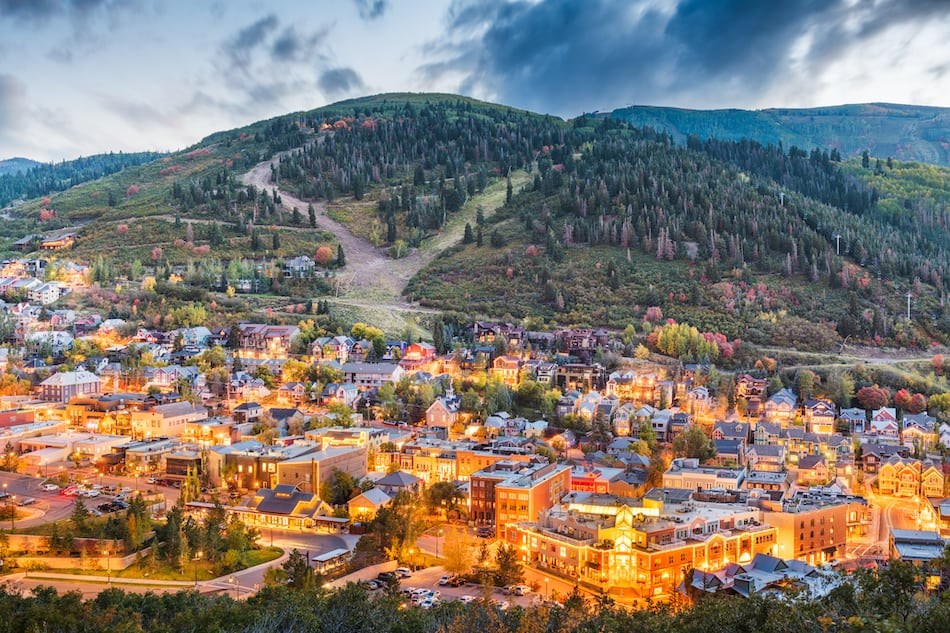 picture of Park City, Utah, USA downtown in autumn at dusk.