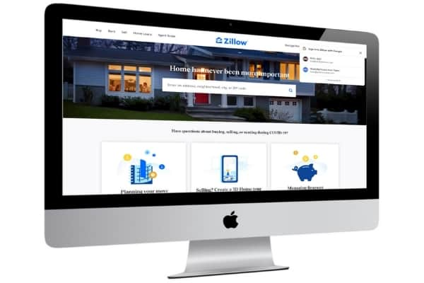 picture of zillow home value estimator website