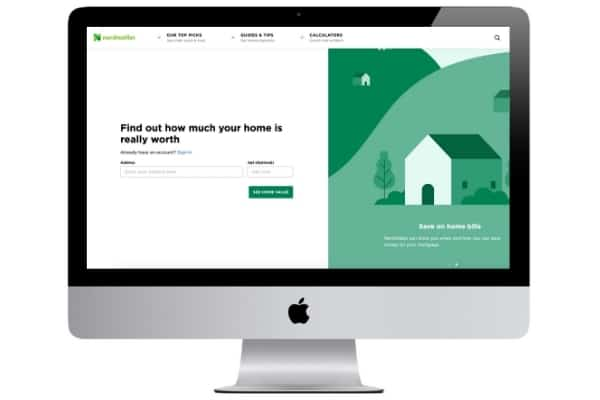 picture of nerdwallet home value estimator website