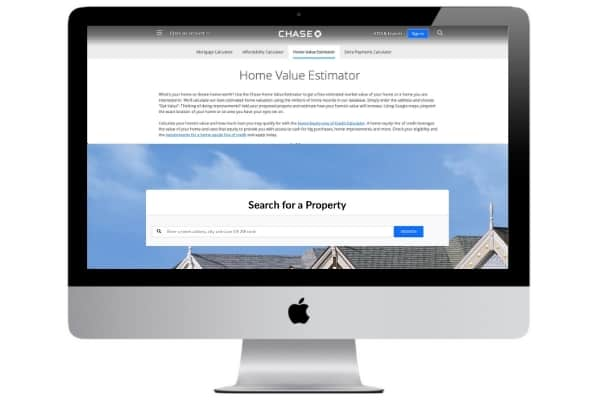 picture of chase home value estimator website