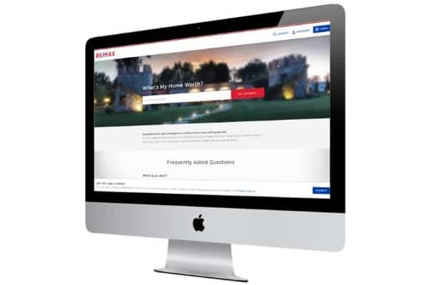 picture of remax home value estimator website