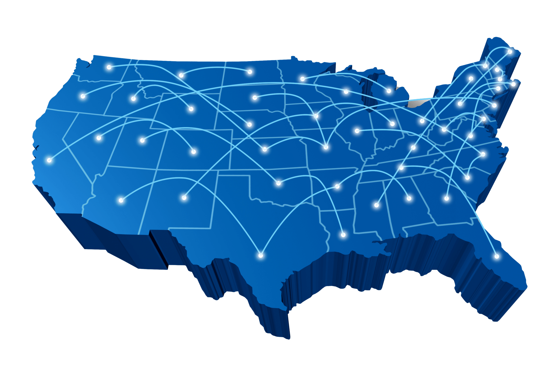 picture of a map of america with arrows moving around