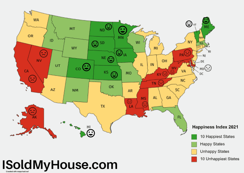 picture of Happiest States 2021 Ranking