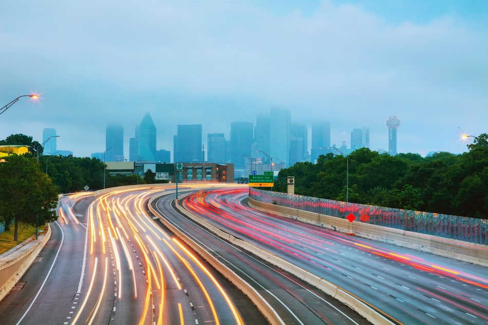Dallas, Texas commute early in the morning