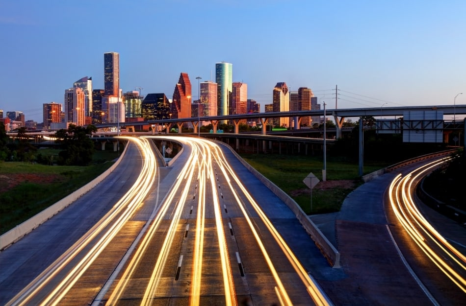 picture of commuting to work in Houston Texas
