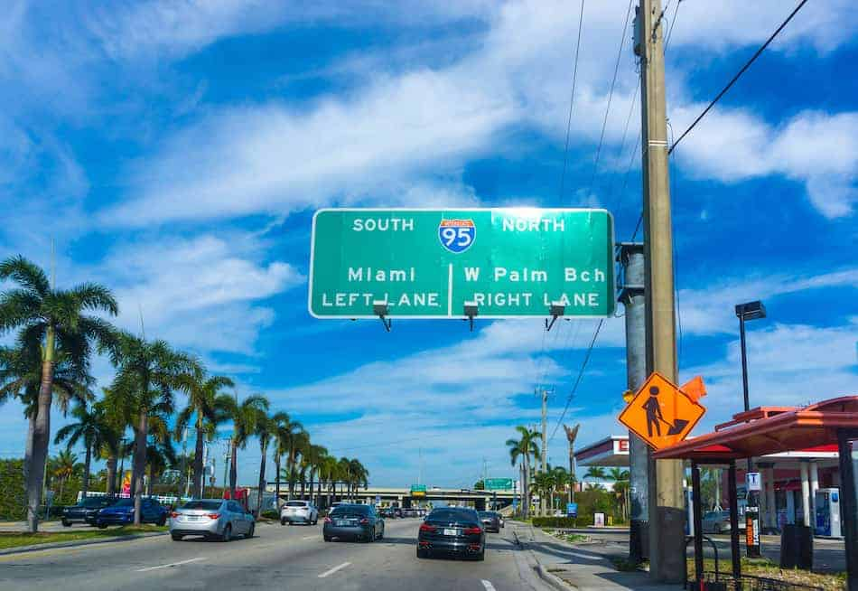 Interstate 95 sign south direction with arrow at Miami and West Palm Beach