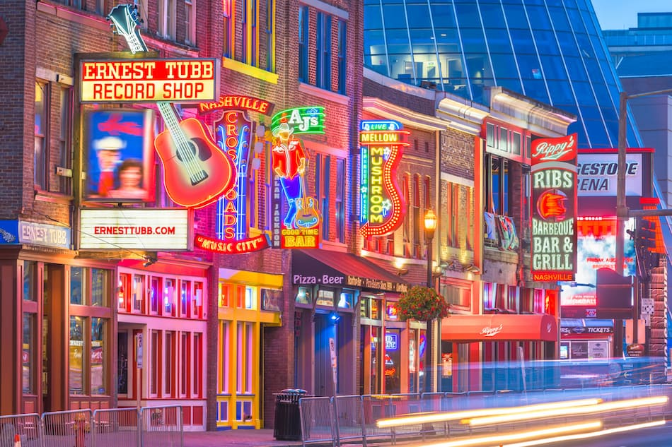 NASHVILLE, TENNESSE Honky-tonks on Lower Broadway. The district is famous for the numerous country music entertainment establishments.