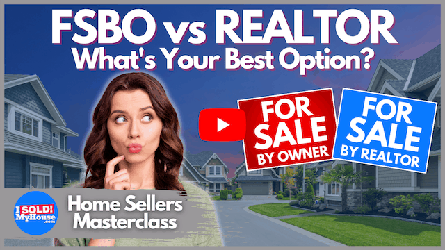 picture of a woman looking at a fsbo sign and a realtor sign trying to decide