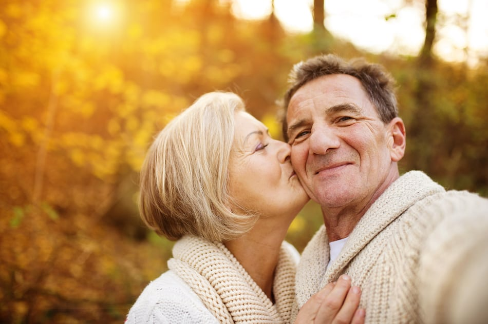 happy retired couple during an autumn day in omaha nebraska